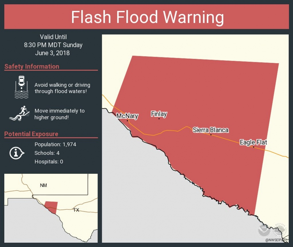 "Nws El Paso On Twitter: ""flash Flood Warning Including Fort Hancock - Fort Hancock Texas Map"