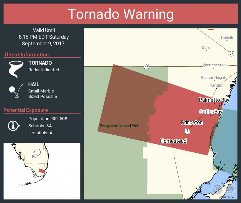 "Nws Miami On Twitter: ""tornado Warning Including Homestead Fl - Homestead Florida Map"