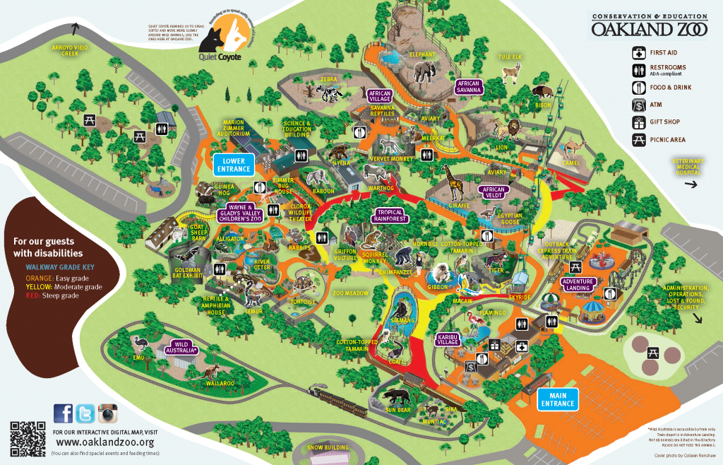Oakland Zoo Map Showing Grade For Guest With Disabilities (Or Tired - Oakland Zoo California Trail Map