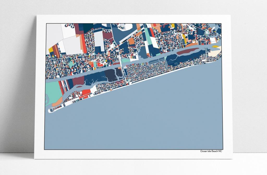 Ocean Isle Beach Nc Wall Art Map Print Poster Beach House Art | Etsy - Printable Map Of Ocean Isle Beach Nc