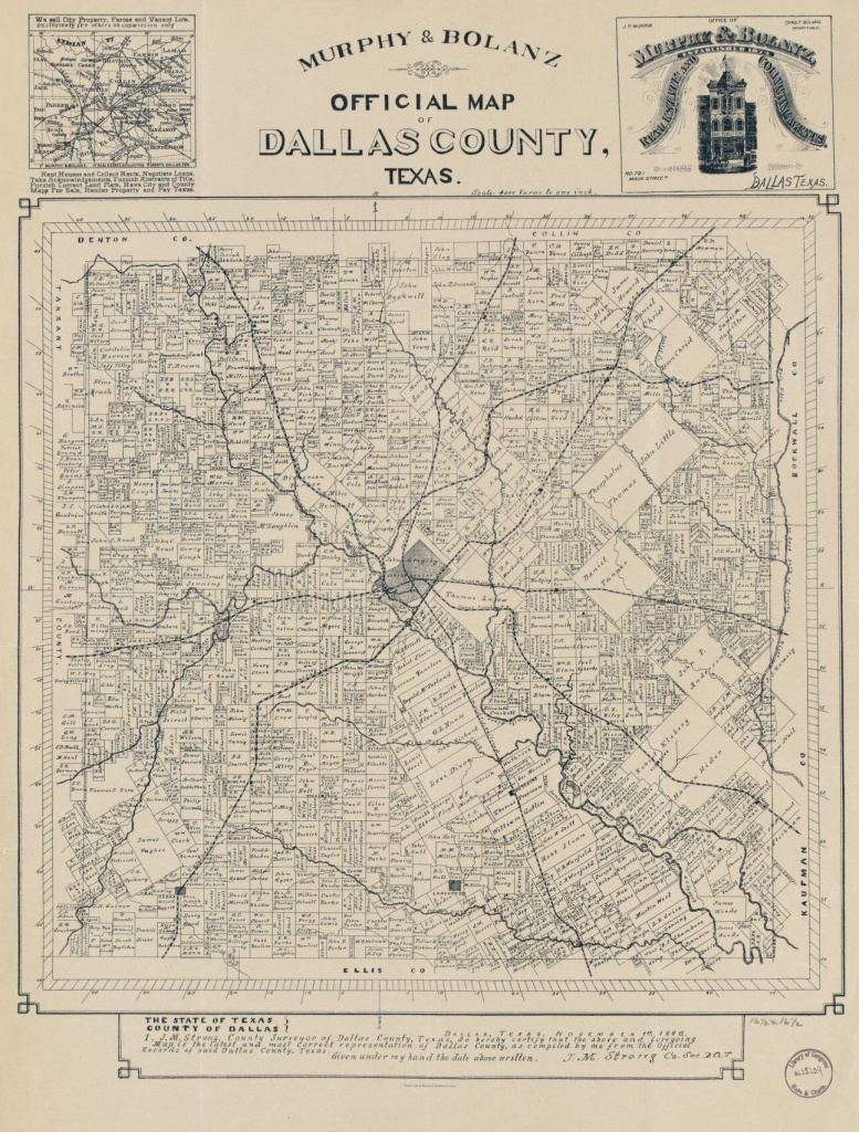 Official Map Of Dallas County, Texas | Library Of Congress - Map Records Dallas County Texas
