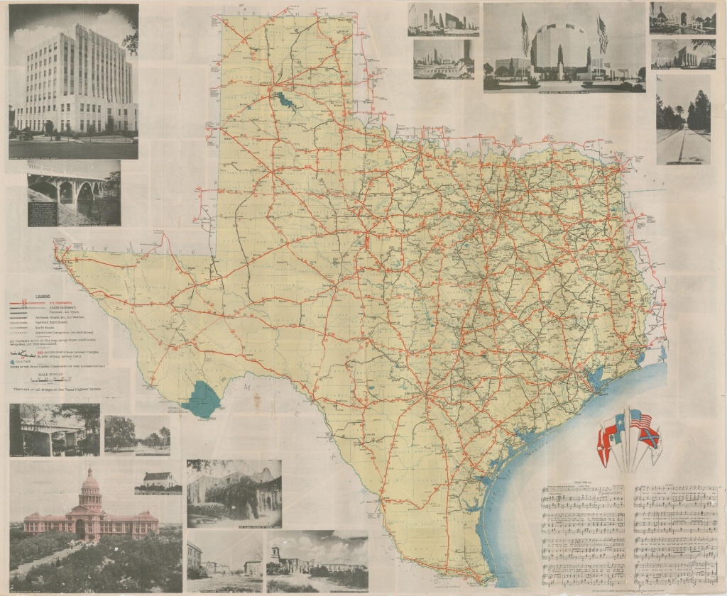 Official Map Of The Highway System Of Texas, 1936 – Save Texas - Official Texas Highway Map