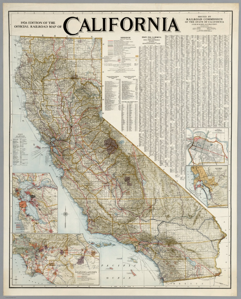 Official Railroad Map Of California, 1926 - David Rumsey Historical - Historical Map Of California