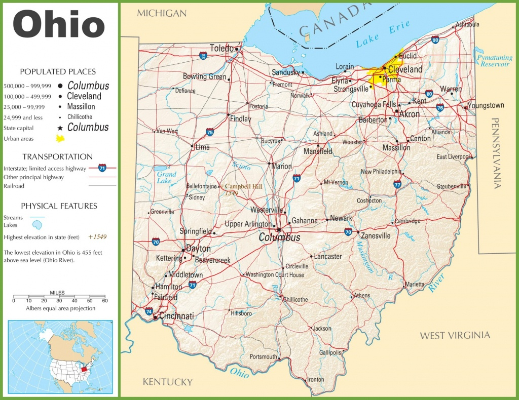 Ohio State City Map And Travel Information | Download Free Ohio - Ohio State Map Printable