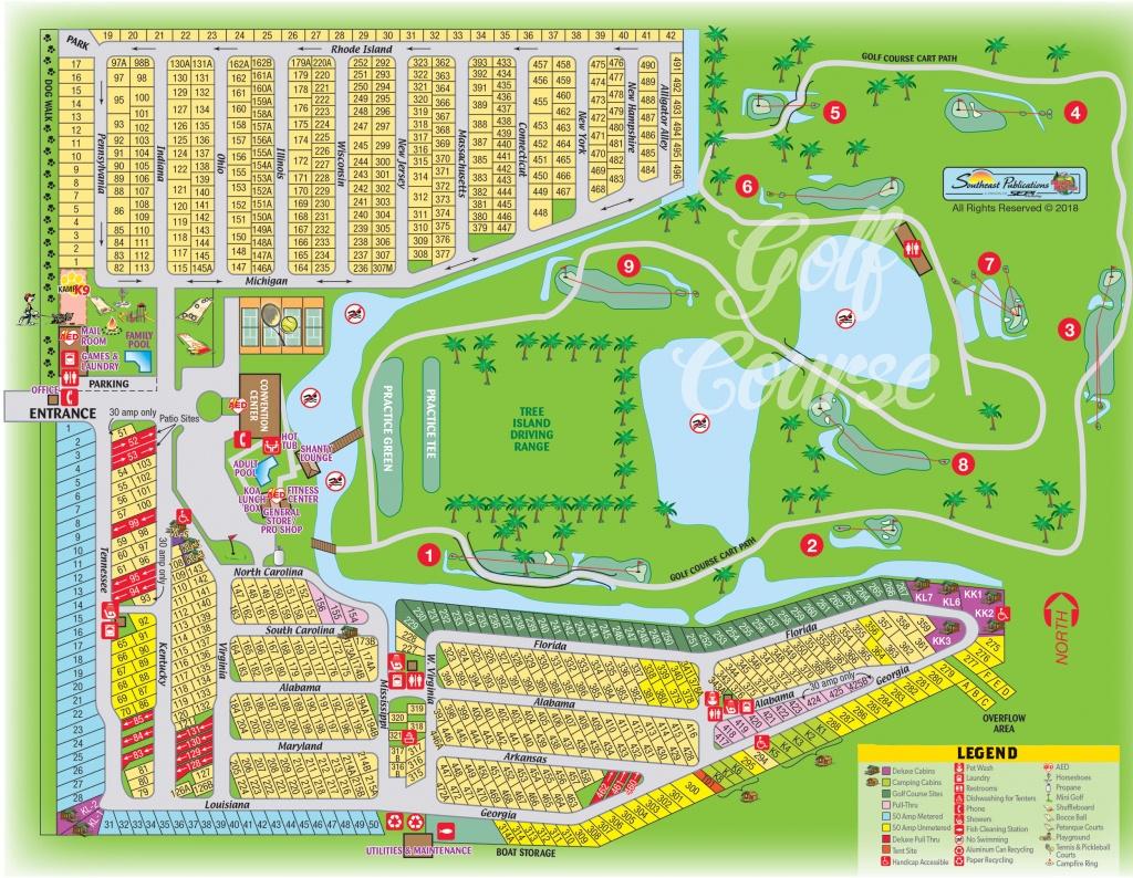 Okeechobee, Florida Campground | Okeechobee Koa - Florida Camping Map