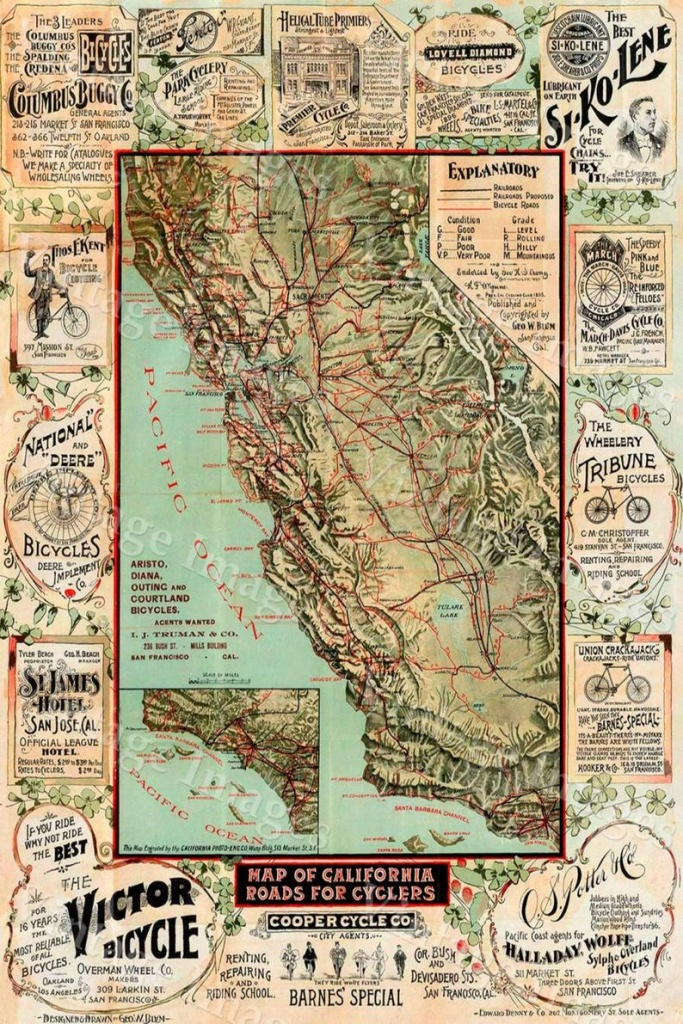 Old California Map California Bicycle Map 1895 Vintage | Etsy - Vintage California Map