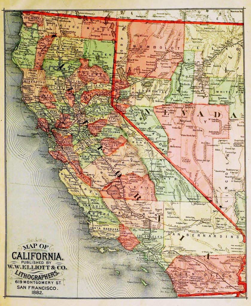 Old California Map Circa 1882 - - California Map Old