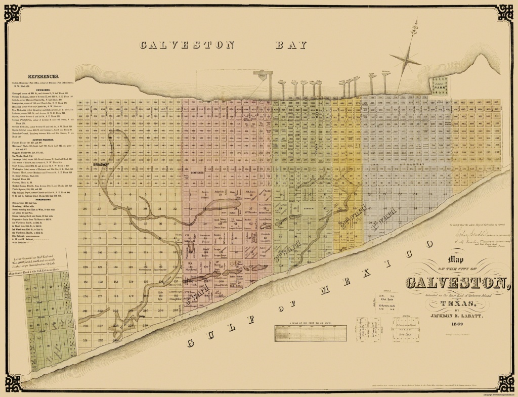 Old City Map - Galveston Texas Landowner - Labatt 1869 - Map Of Galveston Texas