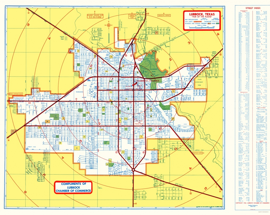 Old City Map - Lubbock Texas - Southwest 1955 - Where Is Lubbock Texas On The Map