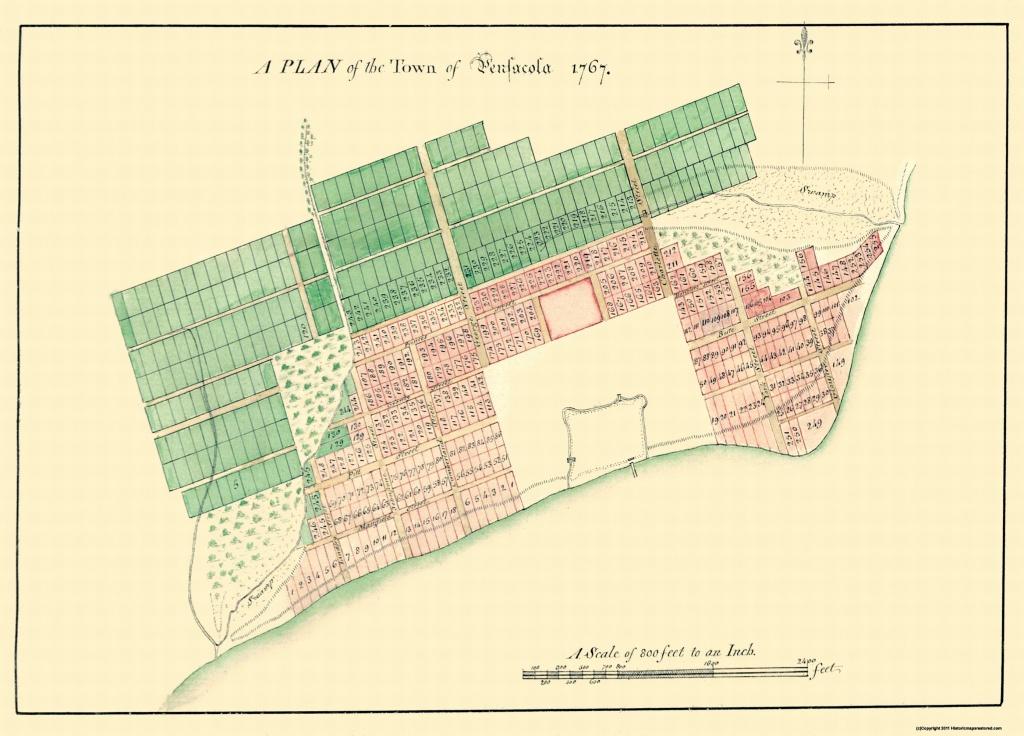 Old City Map - Pensacola Florida Plan - 1767 - Old Maps Of Pensacola Florida
