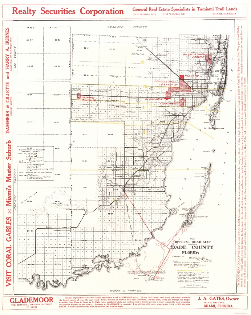 Old County Map - Dade Florida Road - Richeson 1921 - Map Of Dade County Florida