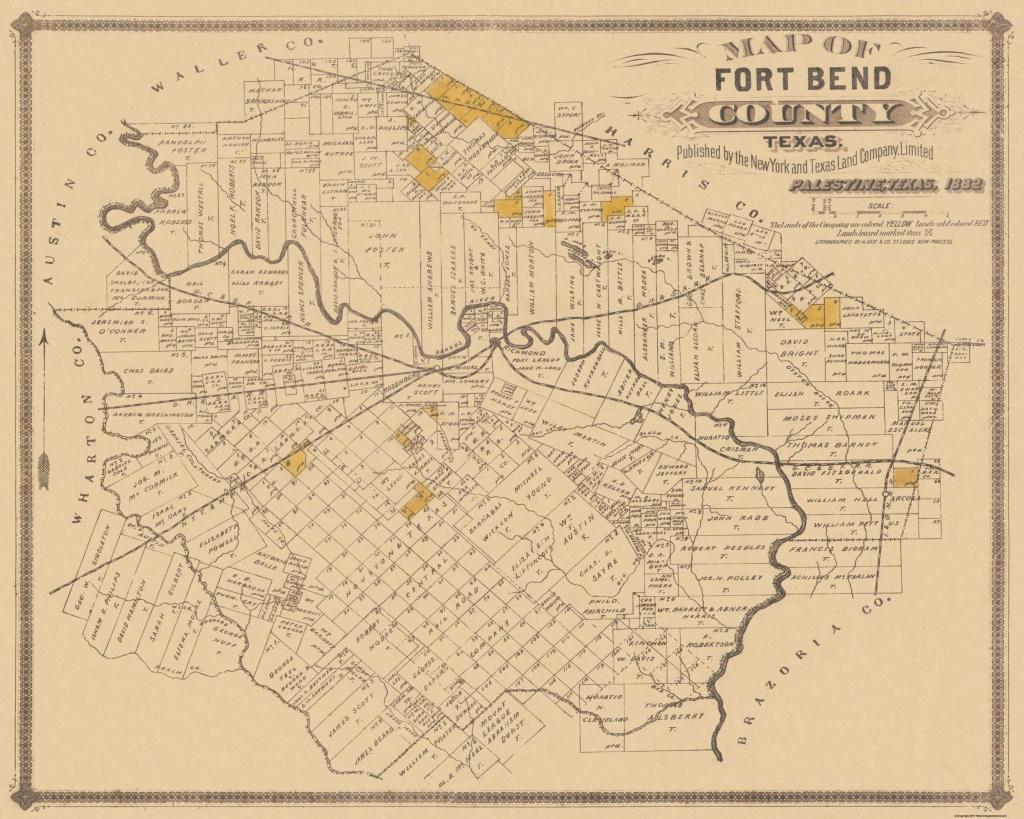 Old County Map - Fort Bend Texas Landowner - 1882 - Topographic Map Of Fort Bend County Texas