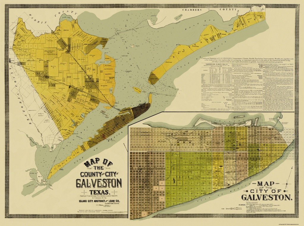 Old County Map - Galveston Texas Landowner - 1890 - Map Of Galveston Texas