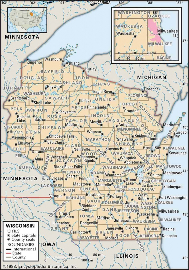 Old Historical City, County And State Maps Of Wisconsin - Wisconsin Road Map Printable