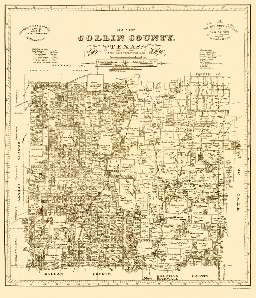 Old Map - Collin Texas Landowner - Gast 1881 - Collin County Texas Map