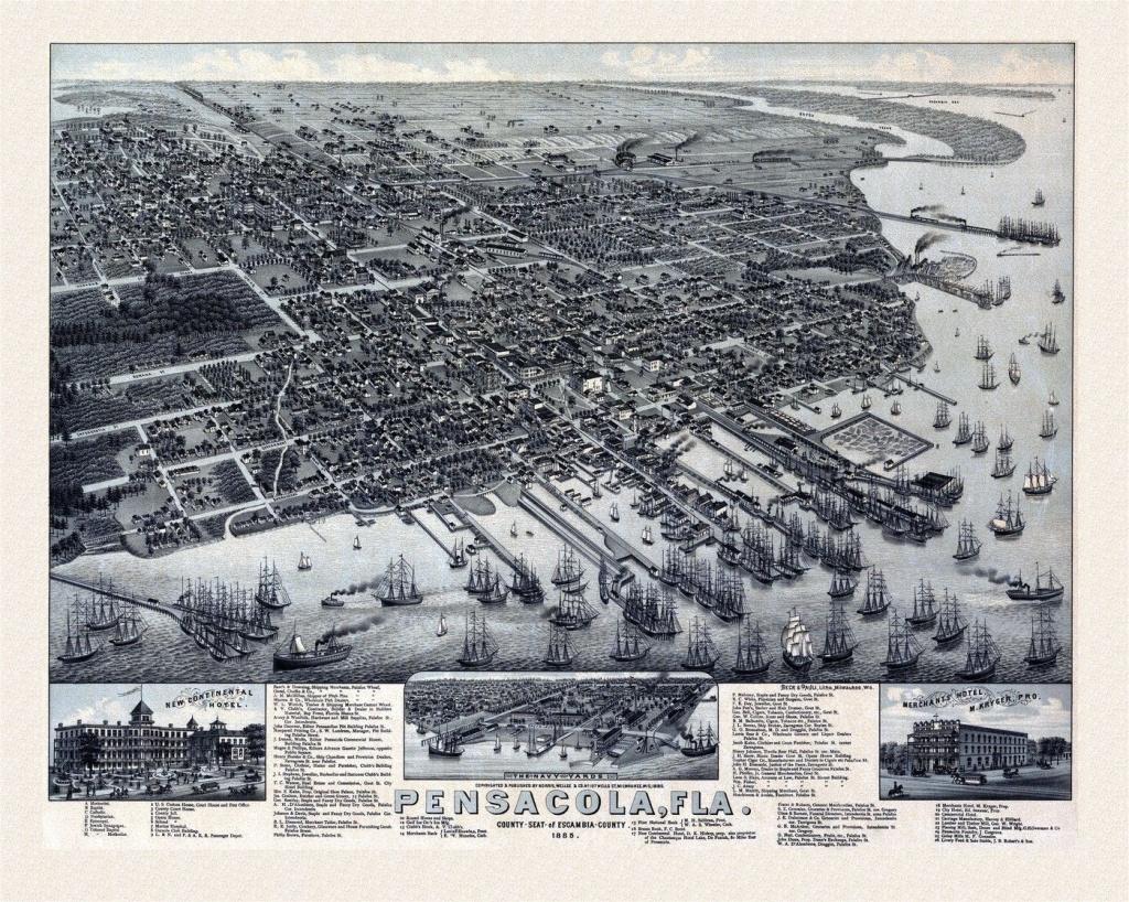 Old Map Of Pensacola Florida 1885 Escambia County | Vacations - Old Maps Of Pensacola Florida