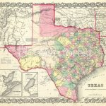 Old Map Of Texas, 1856 Vintage Texas State Map Rolled Canvas Print   Old Texas Maps Prints