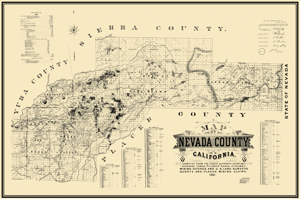 Old Mining Map - Nevada County California 1880 - Gold Prospecting Maps California
