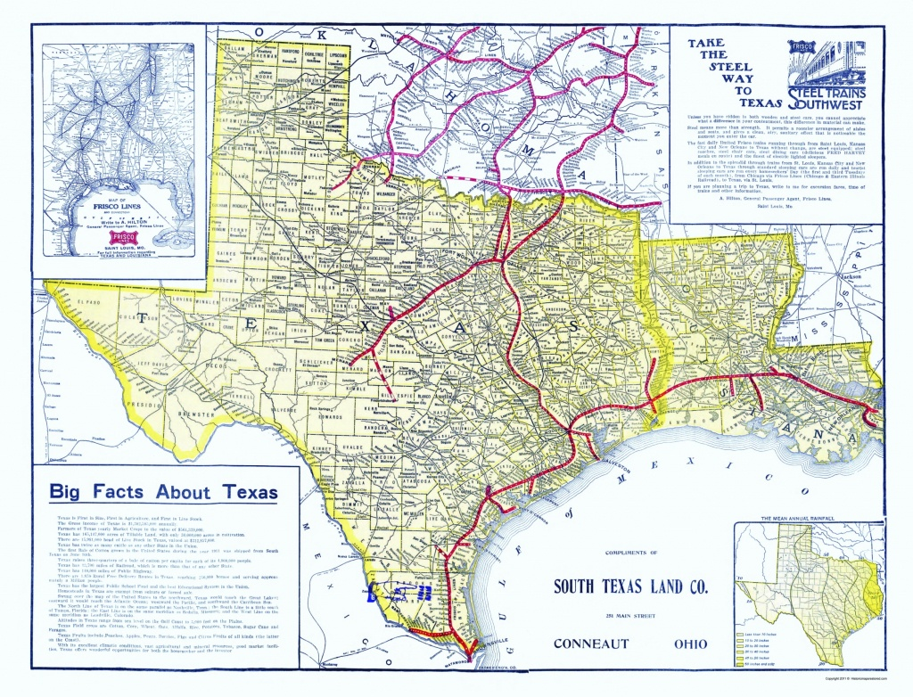Old Railroad Map - Frisco Lines 1911 - Map Of Texas Showing Frisco