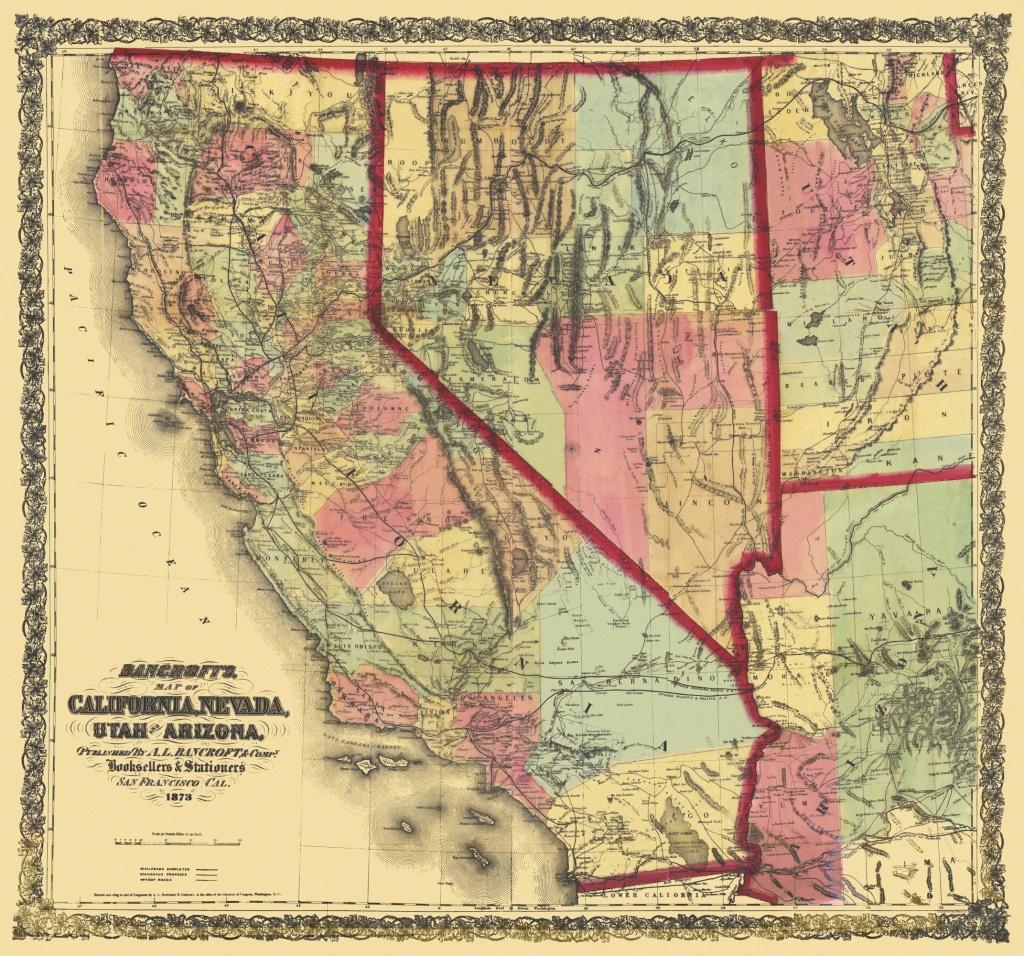 Old State Map - California, Nevada, Utah, Arizona 1873 - California Nevada Arizona Map