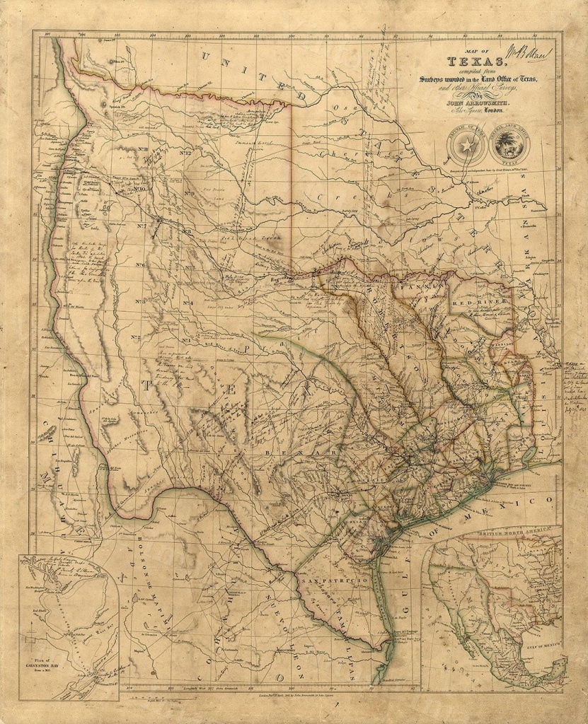 Old Texas Wall Map 1841 Historical Texas Map Antique Decorator Style - Antique Texas Map