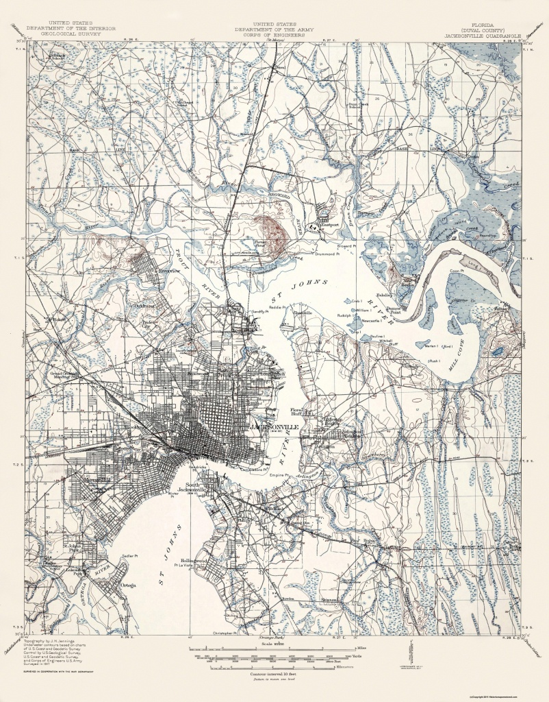 Old Topographical Map - Jacksonville Florida 1917 - Old Maps Of Jacksonville Florida