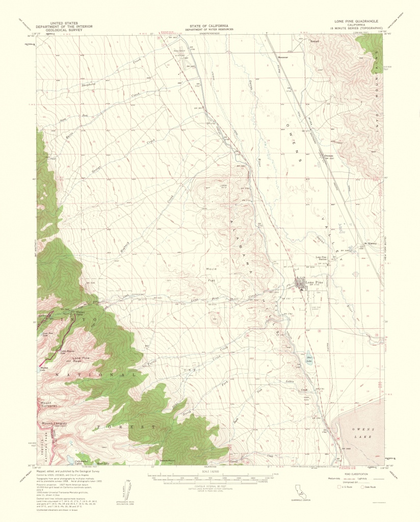 Old Topographical Map - Lone Pine California 1962 - Lone Pine California Map