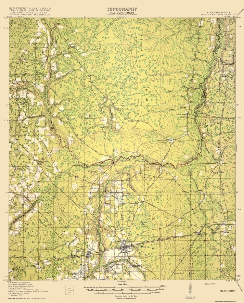 Old Topographical Map - Macclenny Florida, Georgia 1918 - Macclenny Florida Map