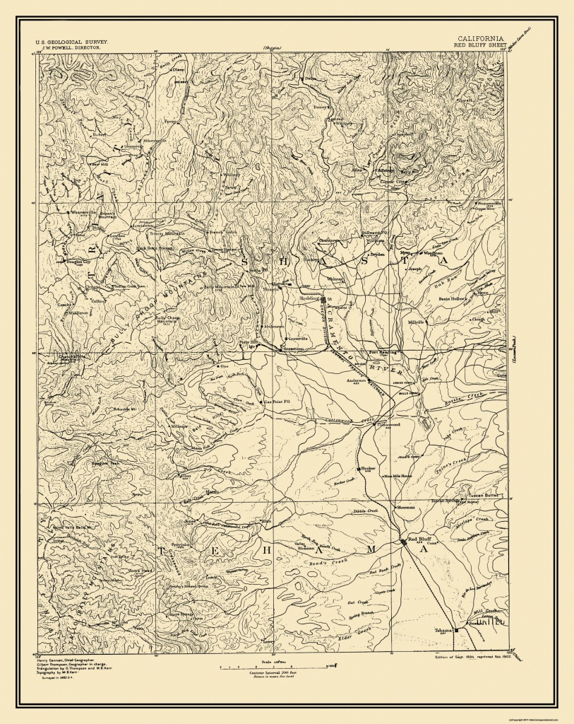 Old Topographical Map - Red Bluff California 1894 - Red Bluff California Map