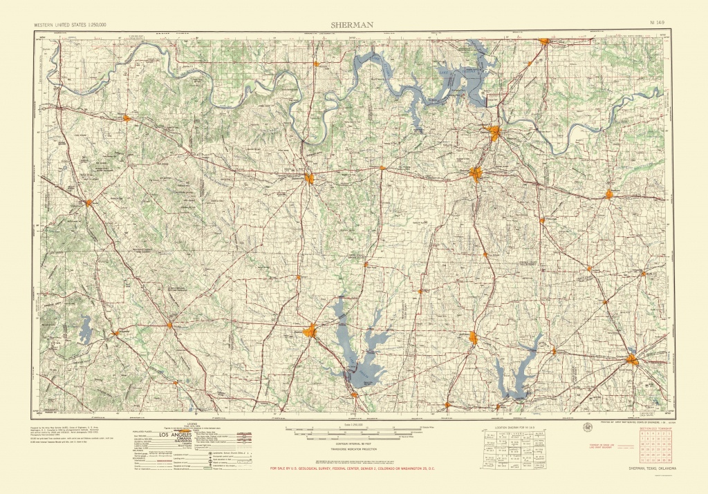 Old Topographical Map - Sherman Texas 1954 - Sherman Texas Map