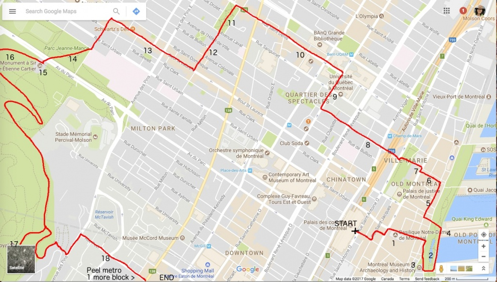 One Day In Montreal, A Self-Guided Walking Tour – Big Travel Nut - Printable Map Of Downtown Montreal