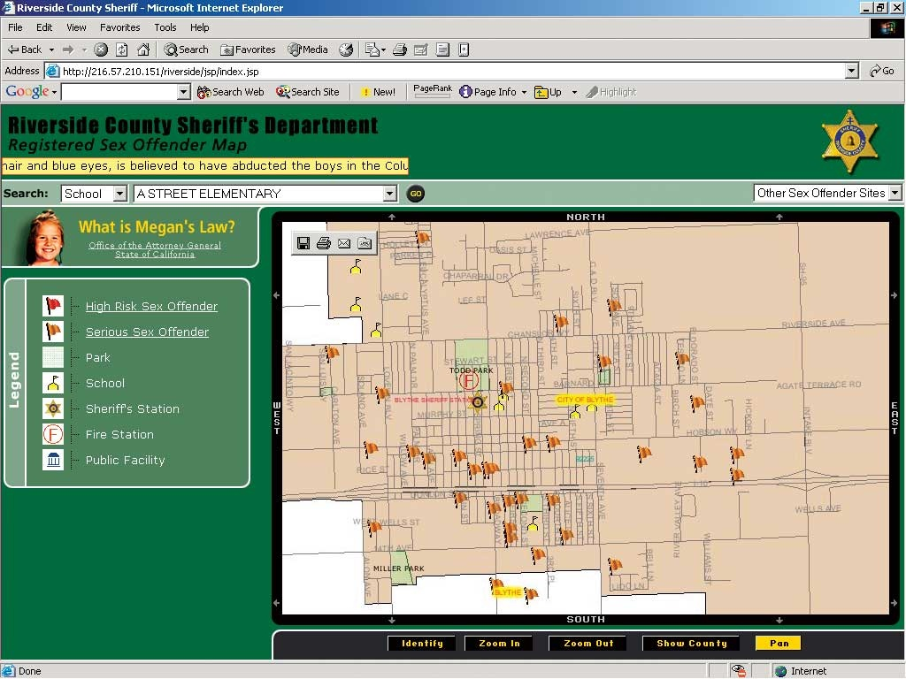 Online Mapping Assists Megan's Law Notification - Megan's Law California Map
