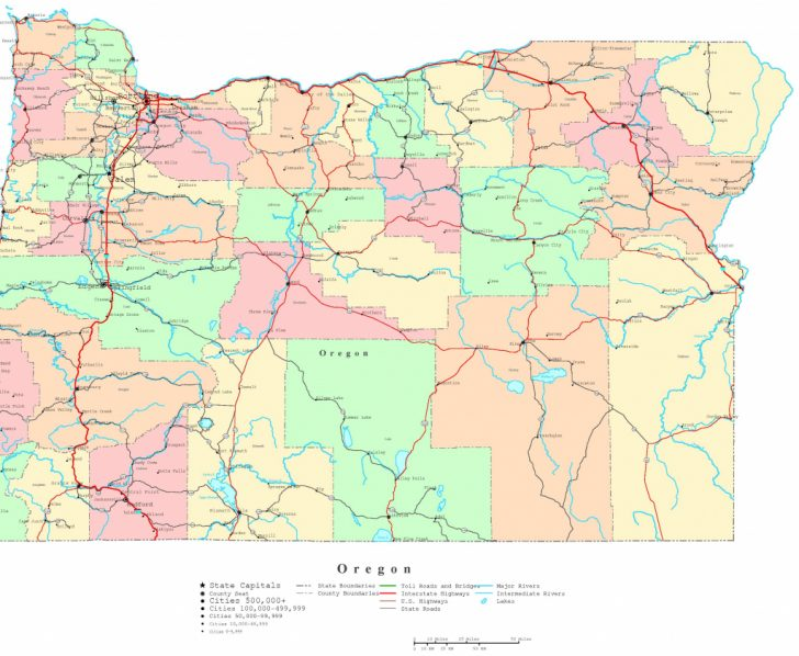 Printable Map Of Oregon