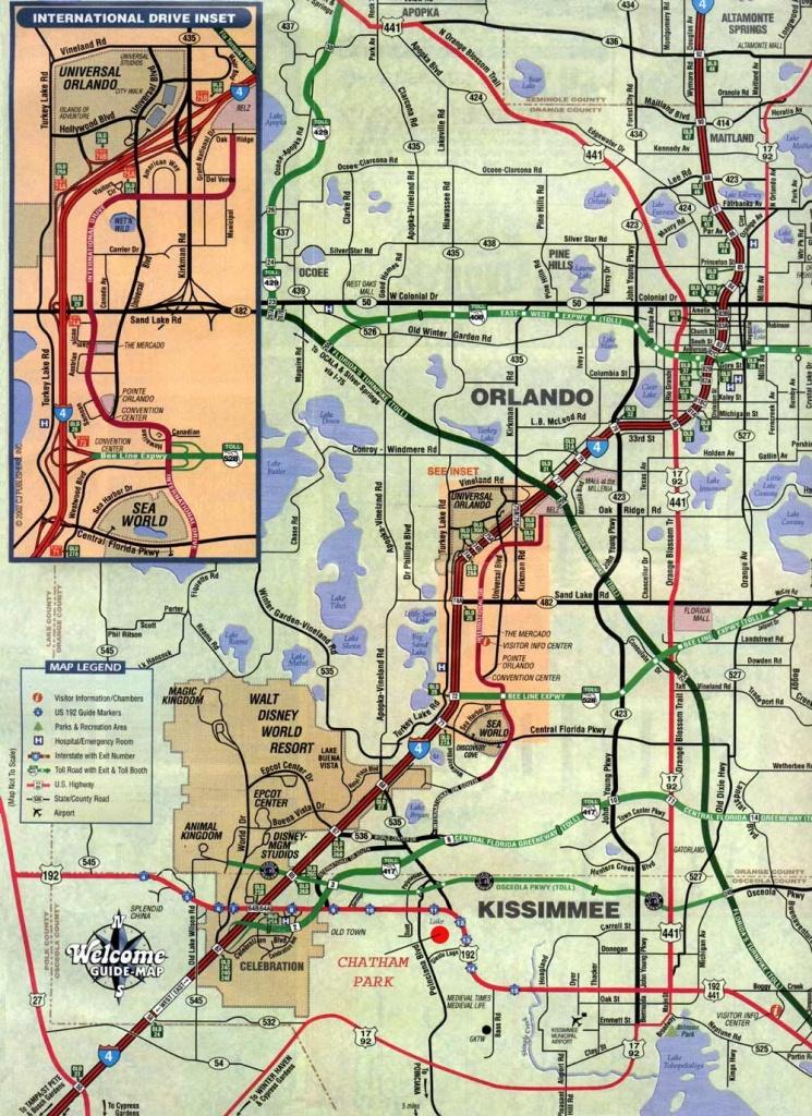 Orlando And Kissimmee Florida Map - Orlando Florida • Mappery - Road Map Of Orlando Florida