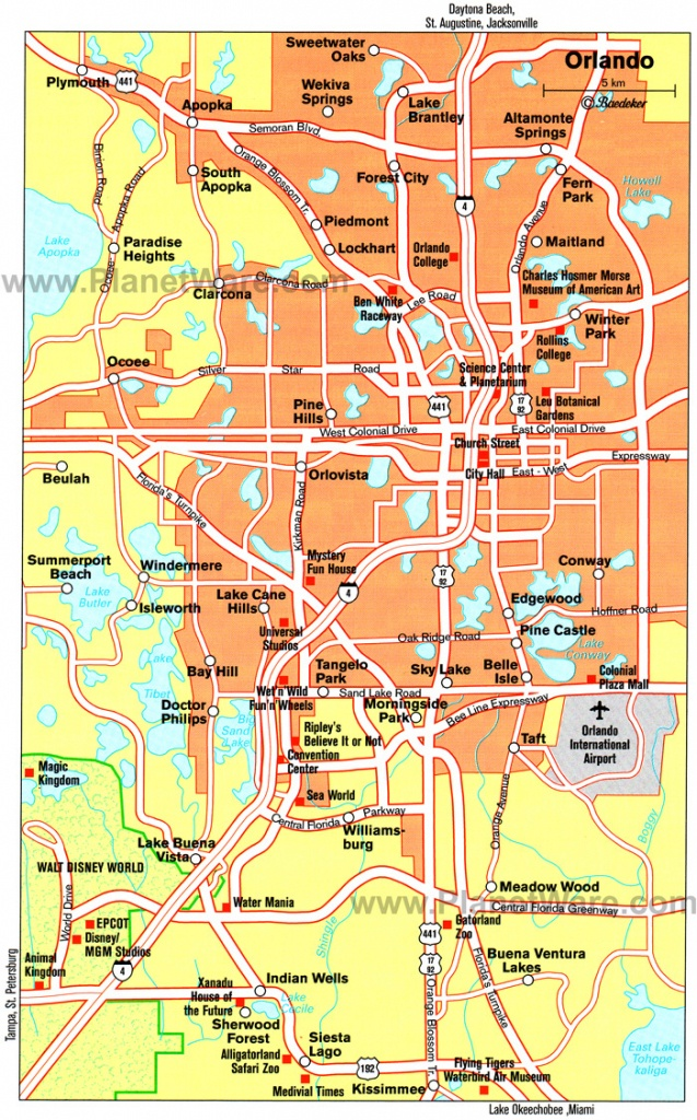 Orlando Cities Map And Travel Information | Download Free Orlando - Road Map To Orlando Florida