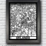 Orlando Florida Map Framed Laser Cut Map Orlando Wall Art | Etsy   Framed Map Of Florida