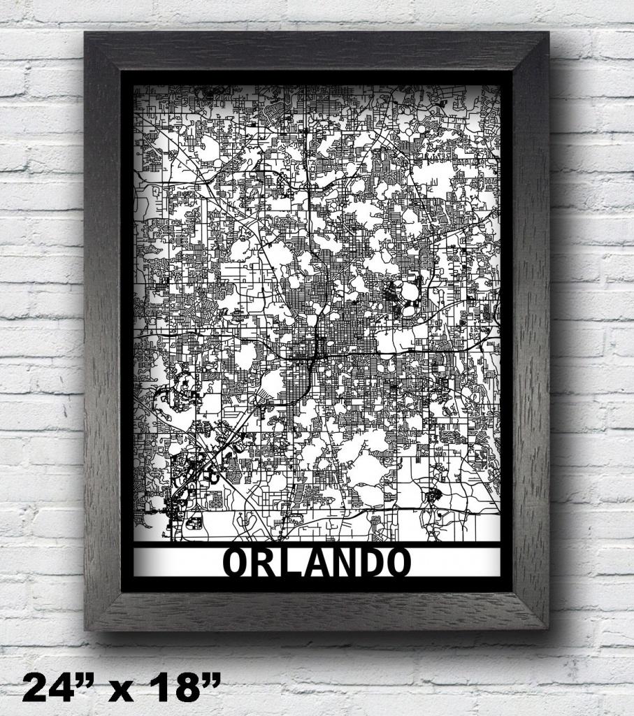 Orlando Florida Map Framed Laser Cut Map Orlando Wall Art | Etsy - Framed Map Of Florida