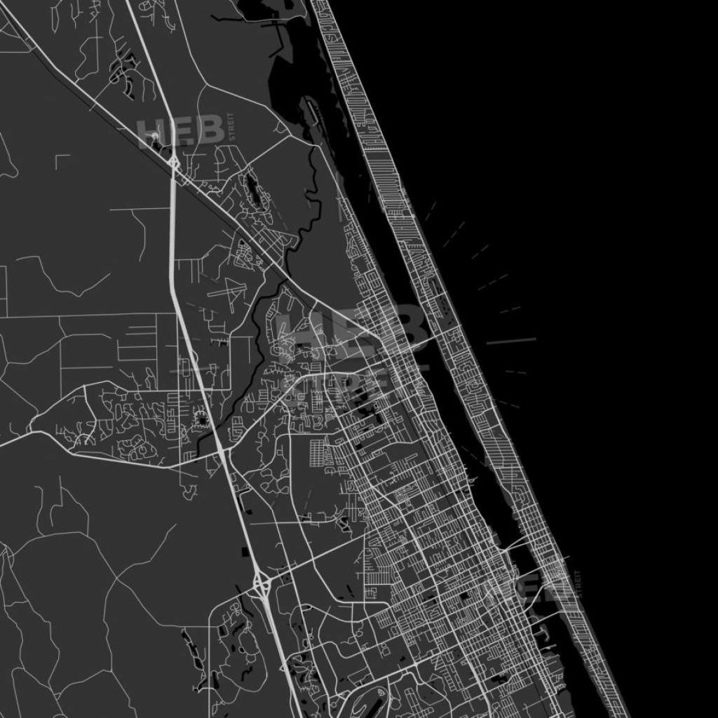 Ormond Beach, Florida - Area Map - Dark | Hebstreits - Street Map Of Ormond Beach Florida
