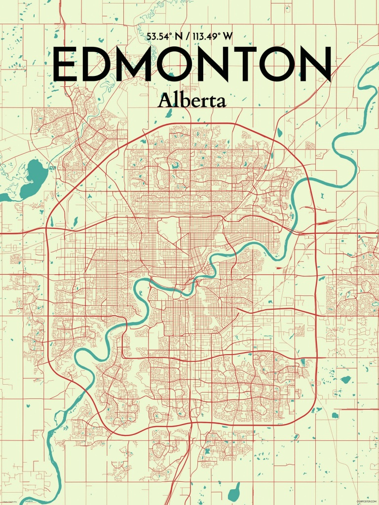 Ourposter 'edmonton City Map' Graphic Art Print Poster In - Printable Map Of Edmonton