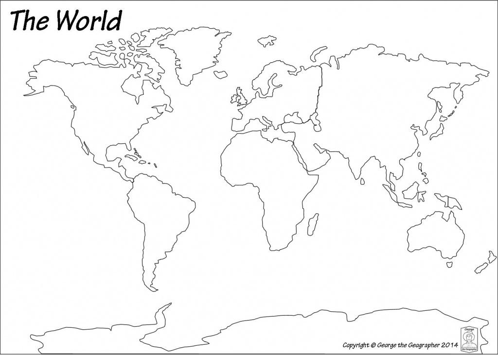 Outline Base Maps - Continents And Oceans Map Quiz Printable