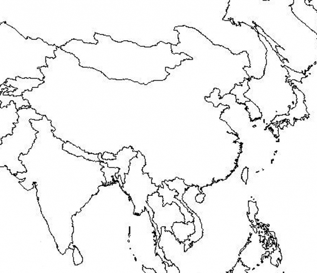 Outline Map Of Asia And Middle East Free Printable Coloring Page - Asia Outline Map Printable