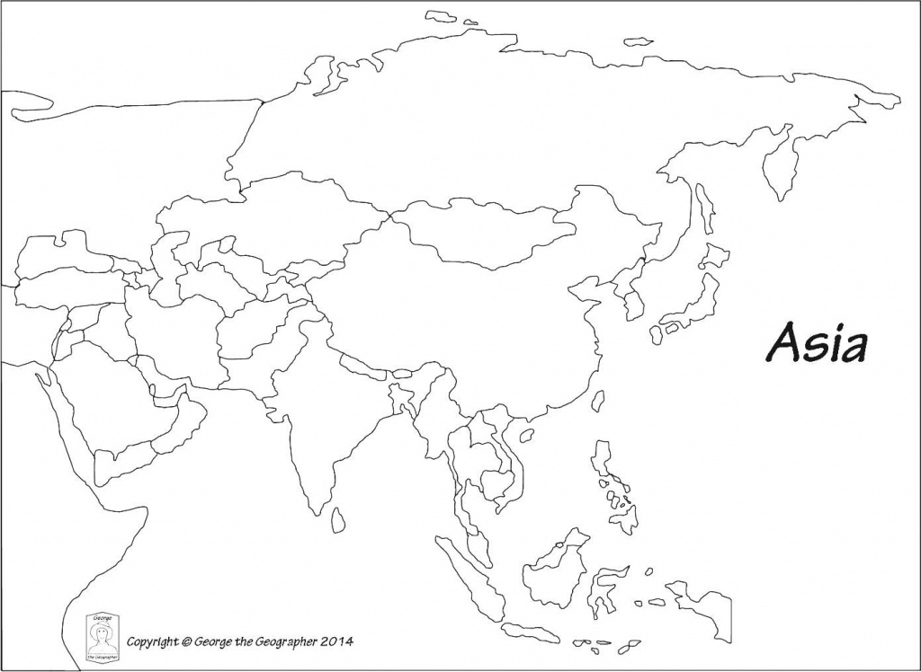 Outline Map Of Asia Political With Blank Outline Map Of Asia - Printable Map Of Asia For Kids