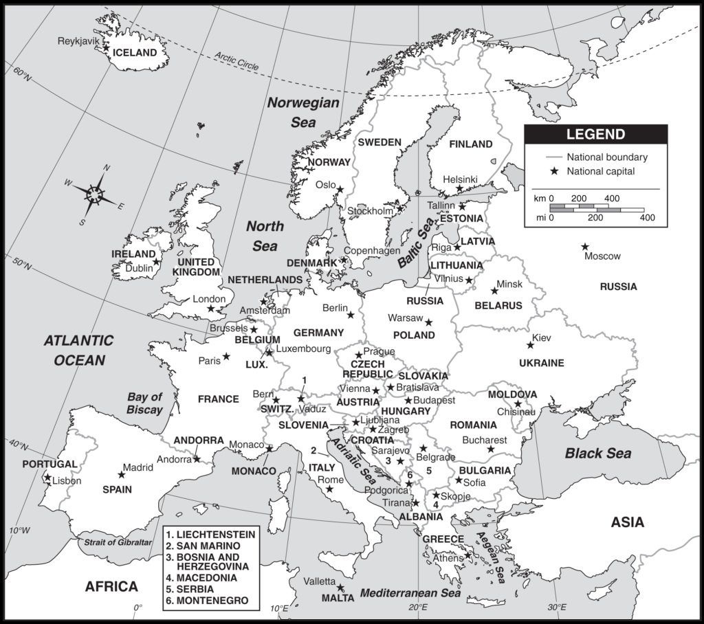 Outline Map Of Europe Countries And Capitals With Map Of Europe With - Printable Map Of Europe With Capitals