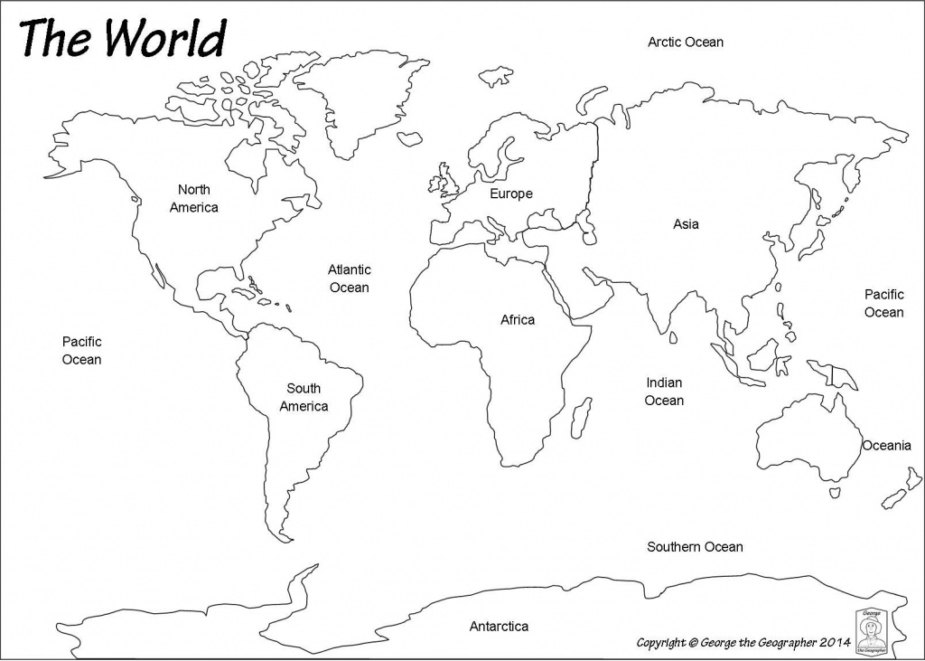 Outline World Map   Map   World Map Continents, Blank World Map - Printable Map Of Oceans And Continents