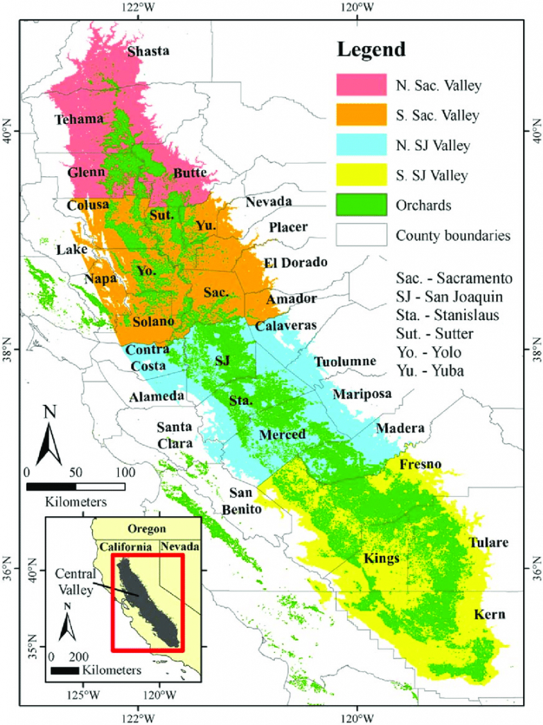 Overview Of California's Central Valley, Showing The Distribution Of - Chill Hours Map California