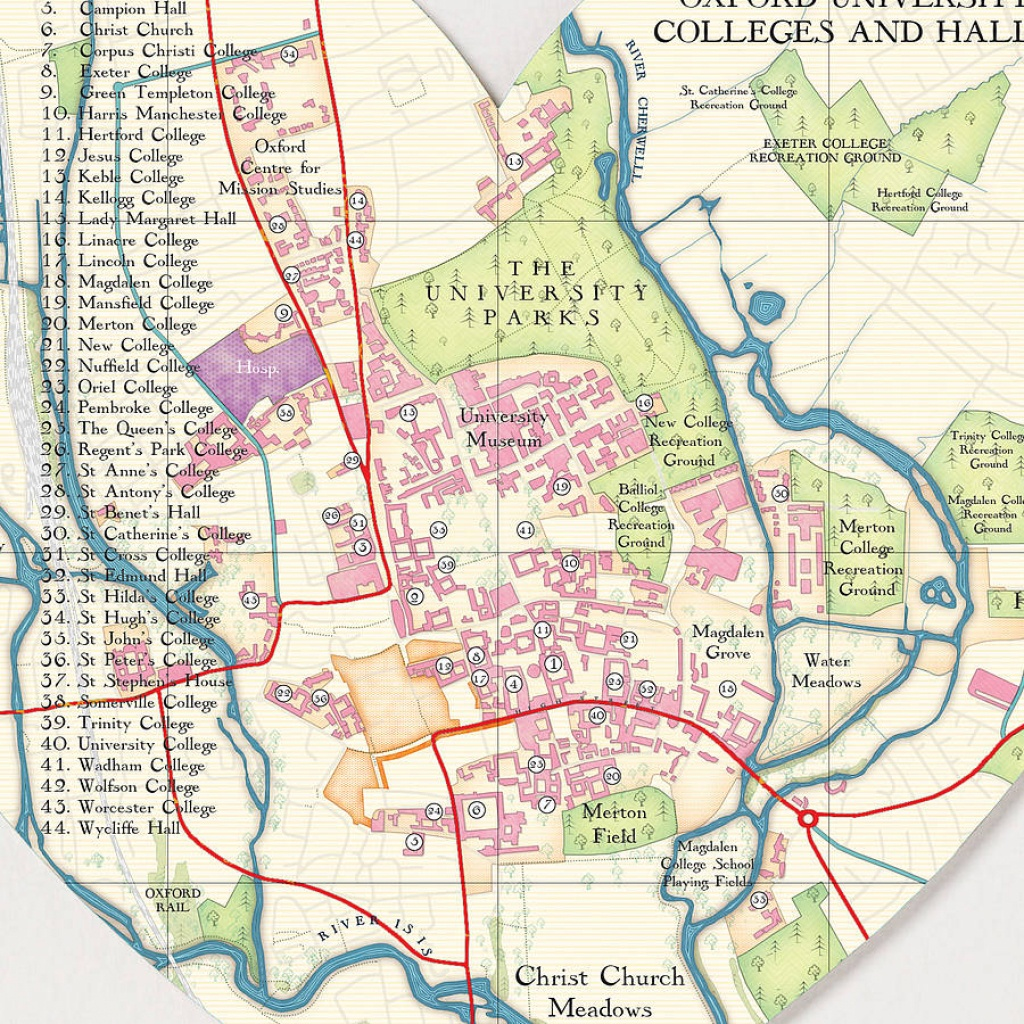 Oxford Map Heart Printbombus Off The Peg | Notonthehighstreet - Printable Map Of Oxford