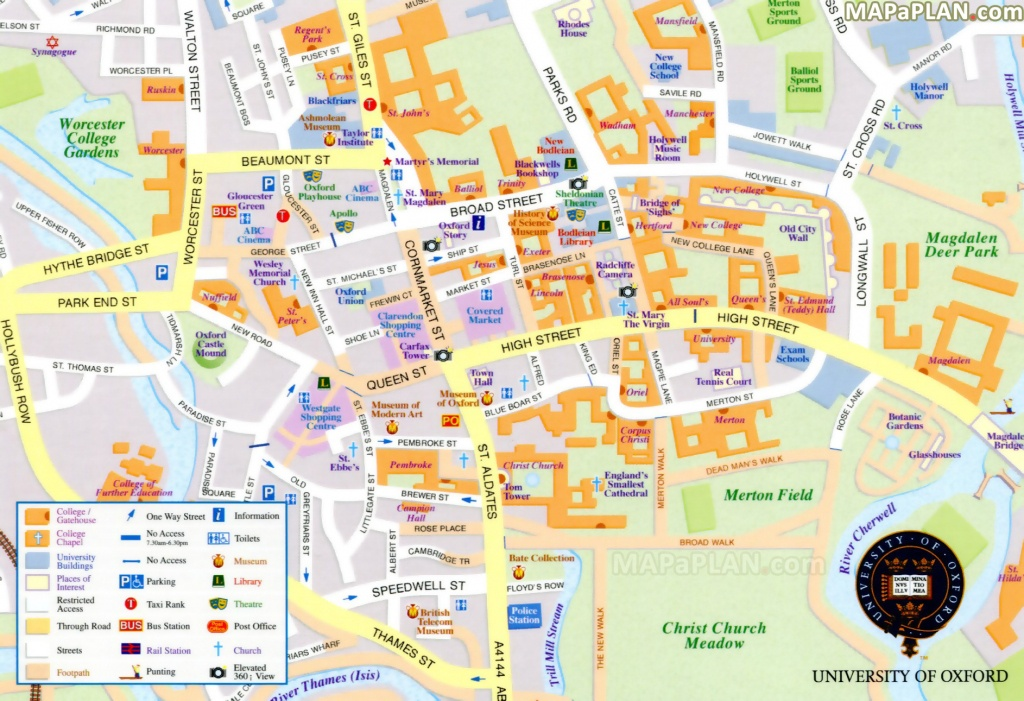 Oxford Maps - Top Tourist Attractions - Free, Printable City Street Map - Printable Town Maps