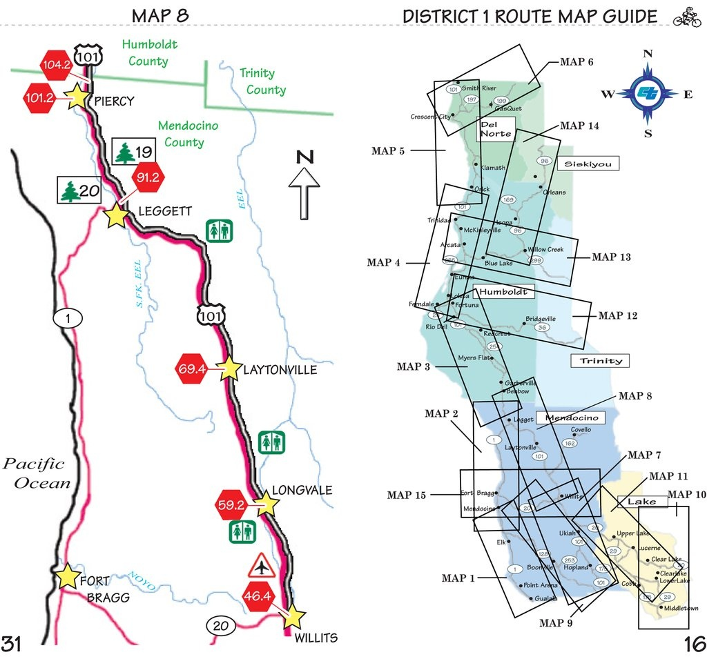 Pacific Coast Bike Route (In Sections) - Maplets - California Coast Bike Route Map