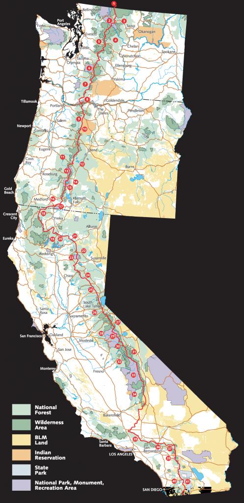 Pacific Crest Trail - Wikipedia - Washington Oregon California Coast Map