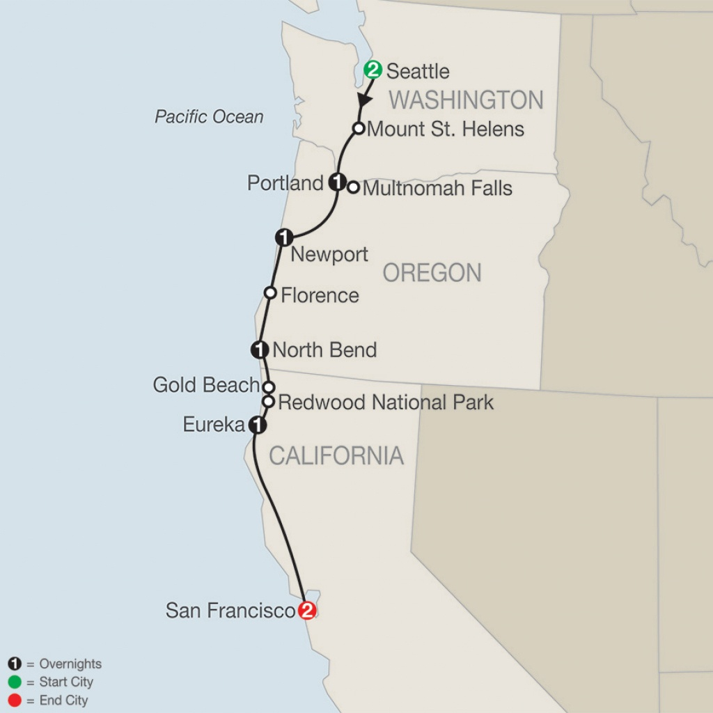 Pacific Northwest Tour - Globus® Escorted Tours - Washington Oregon California Coast Map